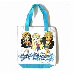 Cartoon Lil Bratz dolls white blue mini tote bag